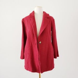 RACHEL ROY Small Red Wool Blend 3/4 Sleeve Jacket